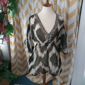 Solitaire Size L Black White Semi Sheer Beaded top